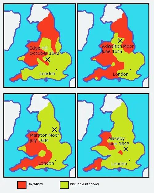 The progression of The English Civil War
