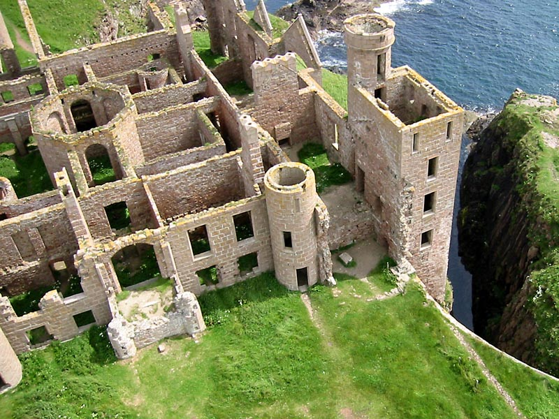 aerial shot of the ruined New Slains Catsle