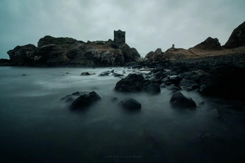 Long exposure shot of kinbane castle