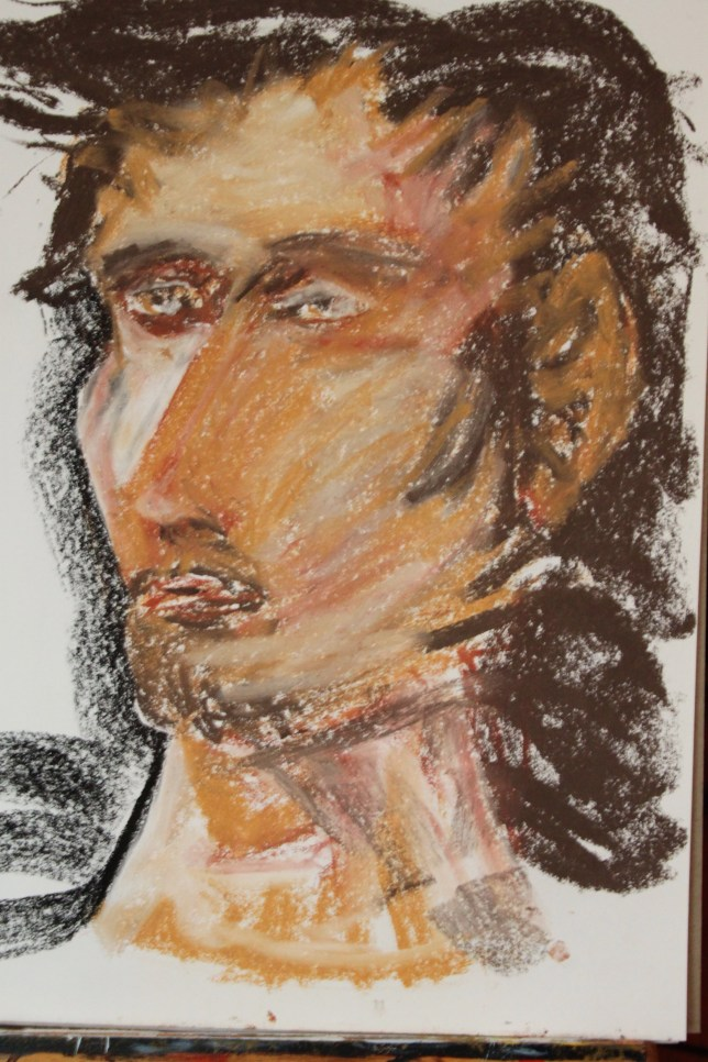 Pastel drawing of man