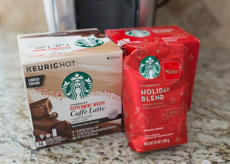 Starbucks at home with great holiday flavors and peppermint mocha caffe latte and holiday blend