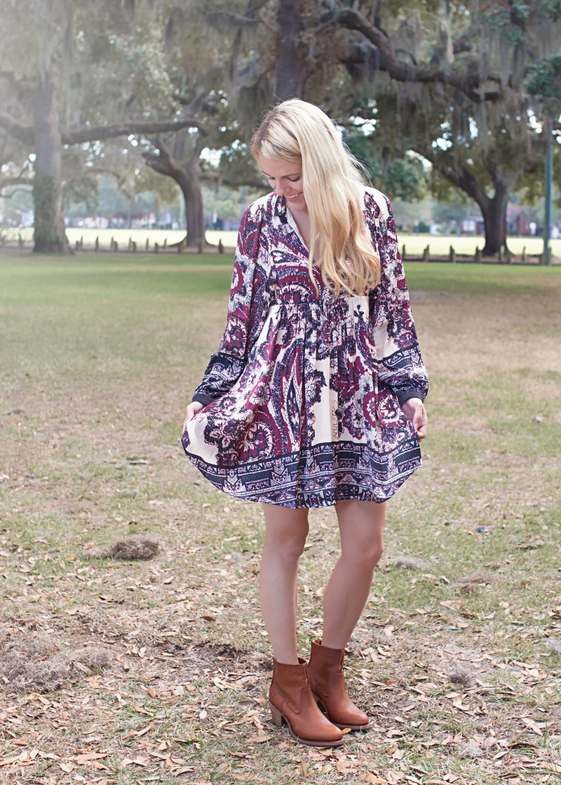 Free People Tunic and Frye Booties Cute Winter Transitional Outfit