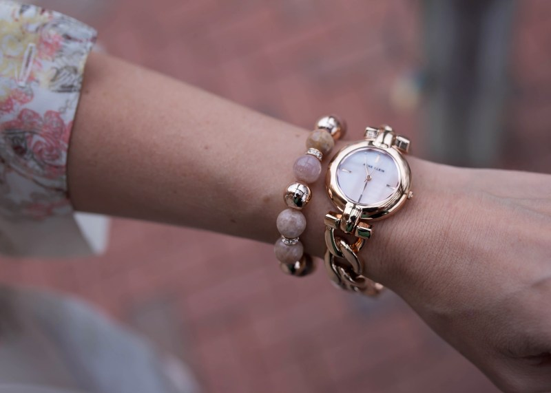 Anne Klein rose gold braided watch and sunstone bracelet set