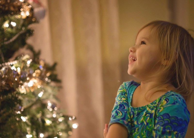 pure joy looking at christmas tree