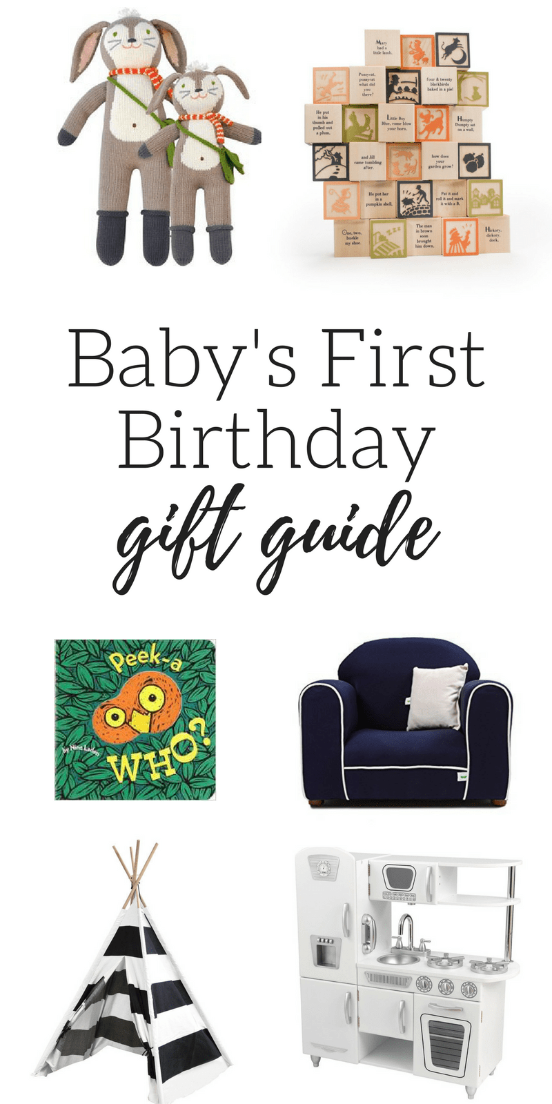 The perfect gift buide for baby's first birthday. The things they'll actually use and love!