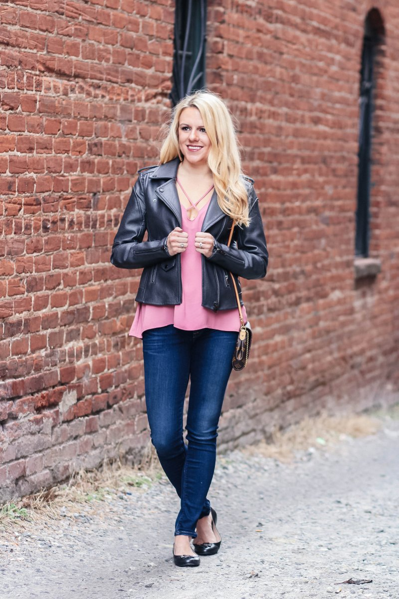 The best dark grey moto jacket way on sale at Nordstrom!