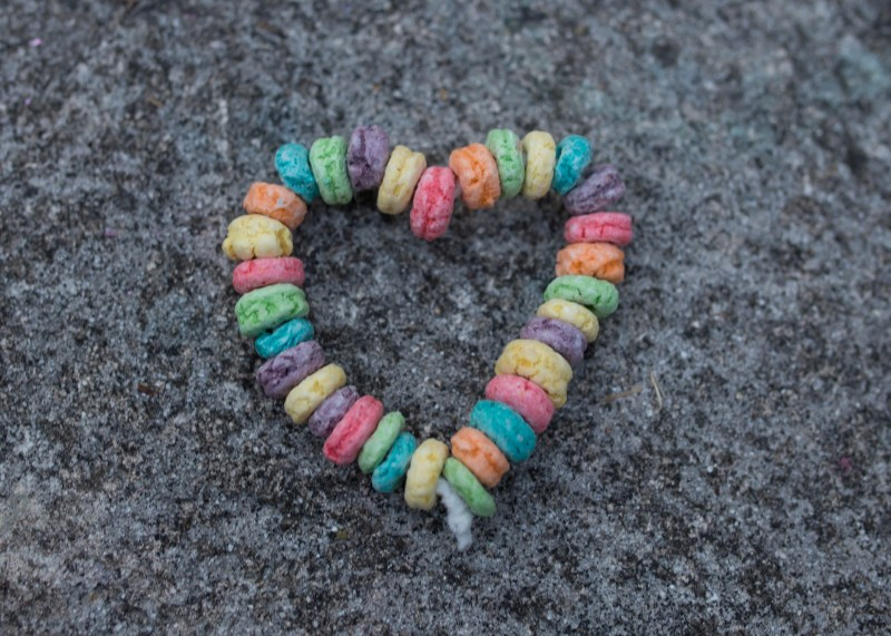 cereal ring heart bird feeder craft