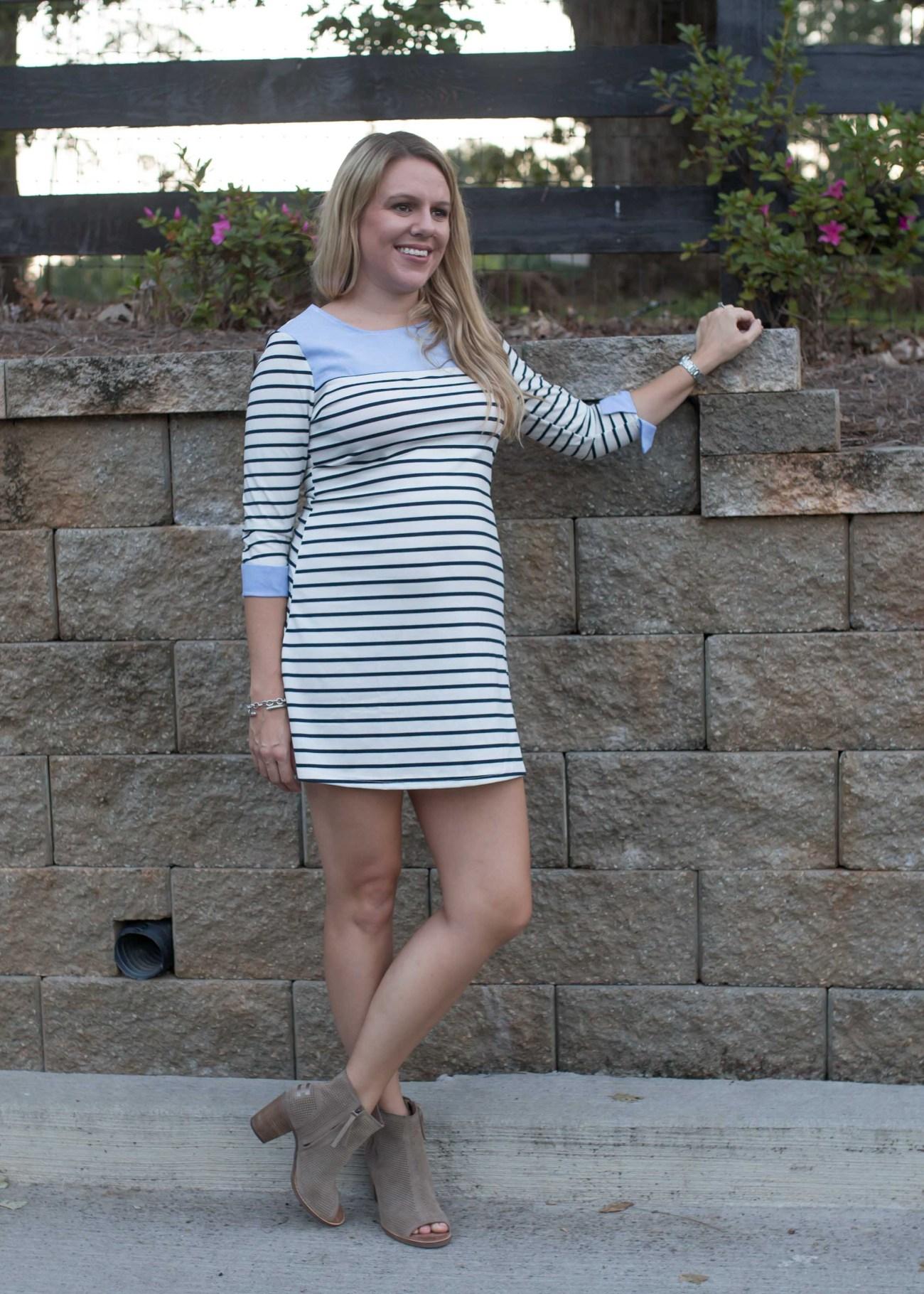 striped dress fall