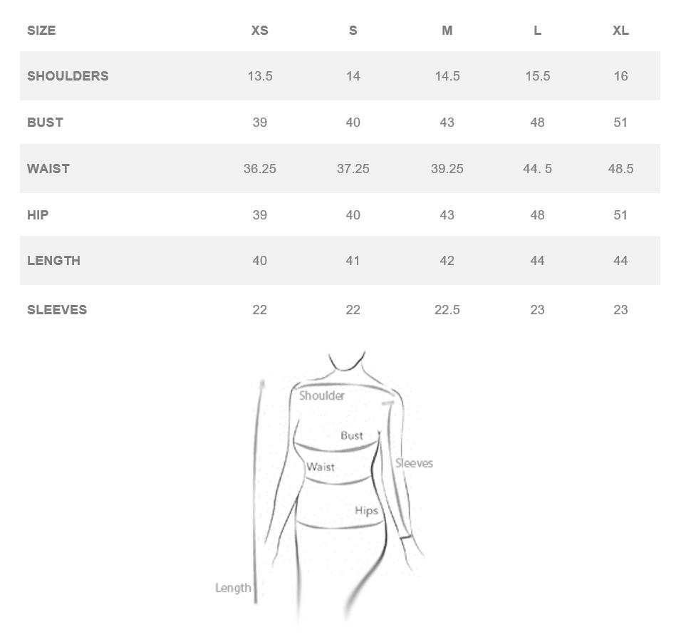Size Chart CDFW Shirt