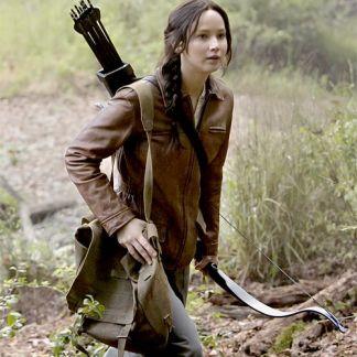 Original Leather Jacket of Jennifer Lawrence The Hunger Games