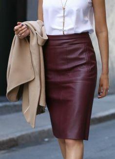 Beautiful Rusty Original Leather A-Line Skirt