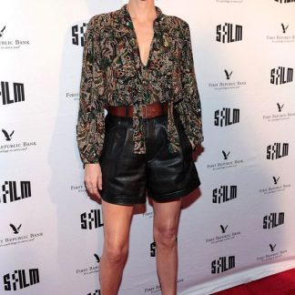 Charlize Theron Black Flowy Shorts