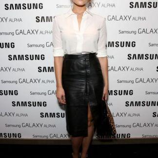 Tiger cut Leather Skirt of Gemma Arterton