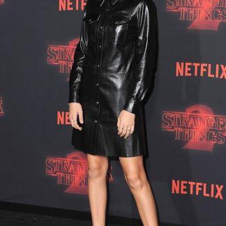 Millie Bobby Brown Leather Skirt