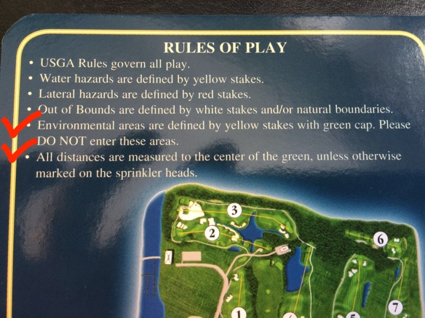 Golf course local rules including environmental ares and reference for distance calculations.