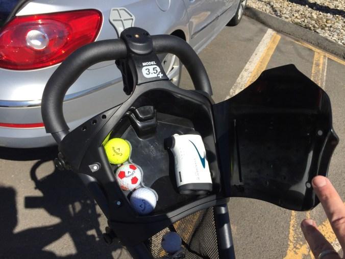 Inside Clicgear 3.5+ push cart compartment