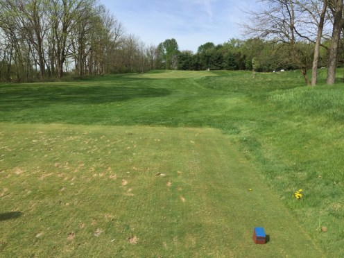 Par 3 Hole 2 uphill tee shot with a steep drop off on the left side into a sand trap.