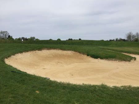 Sand trap guarding 7th green.