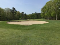Tee shot ended just short of the right sand trap offering good shot to the green.