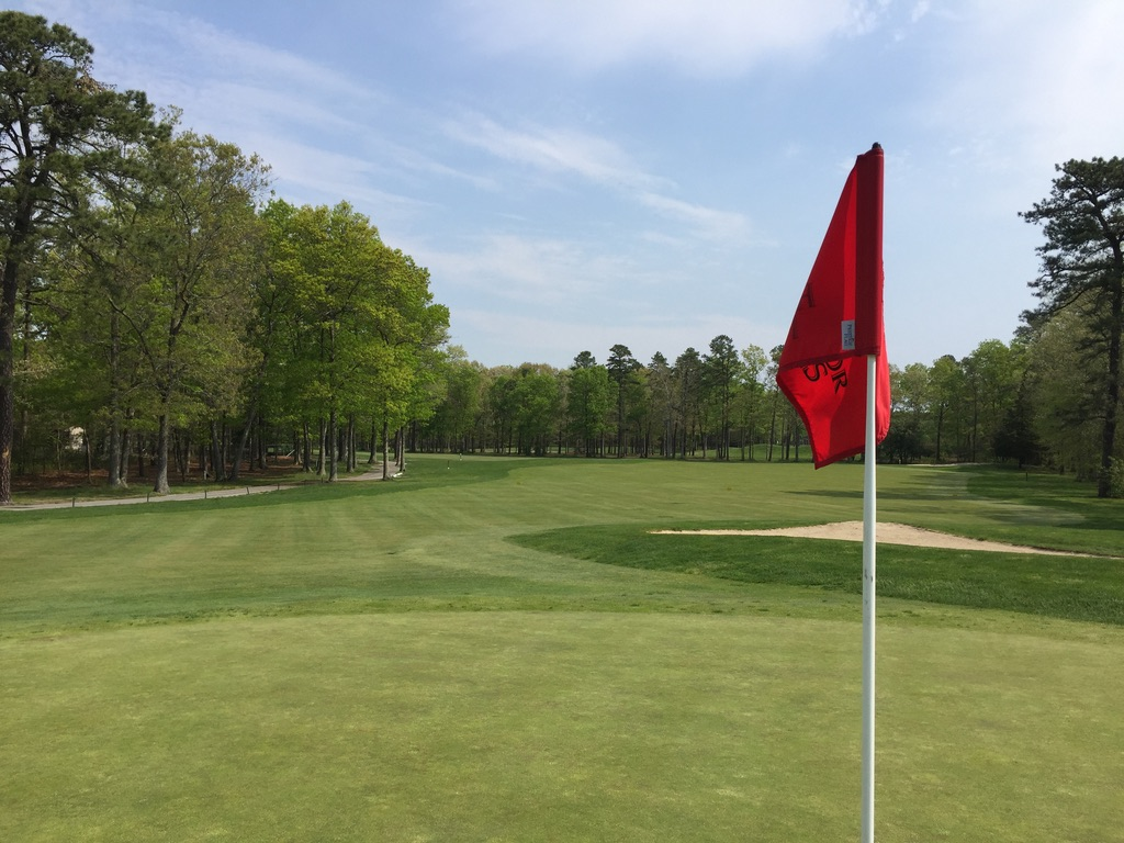 Looking back down the dog leg of the 4th hole.