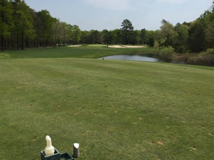 Par 3 8th hole tee box. You can see how deep the sand trap on the right is.