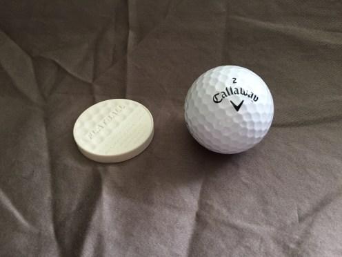 FlatBall is same diameter as regulation golf ball.