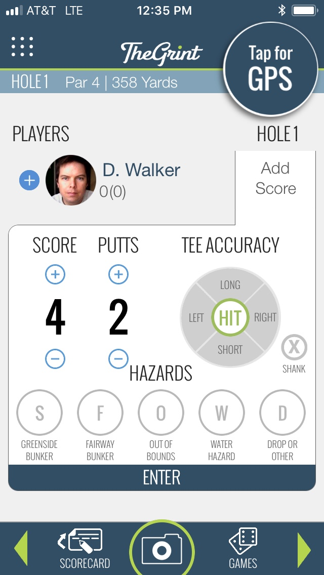 the Grint default screen for hole scoring.
