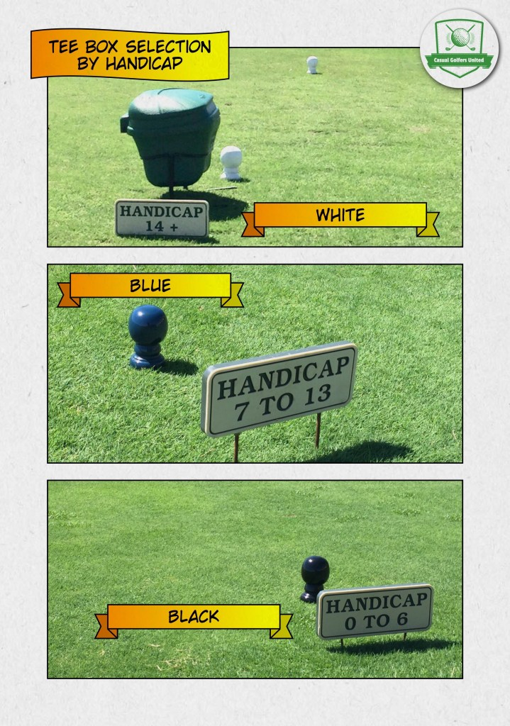 Tee box selection by golf handicap