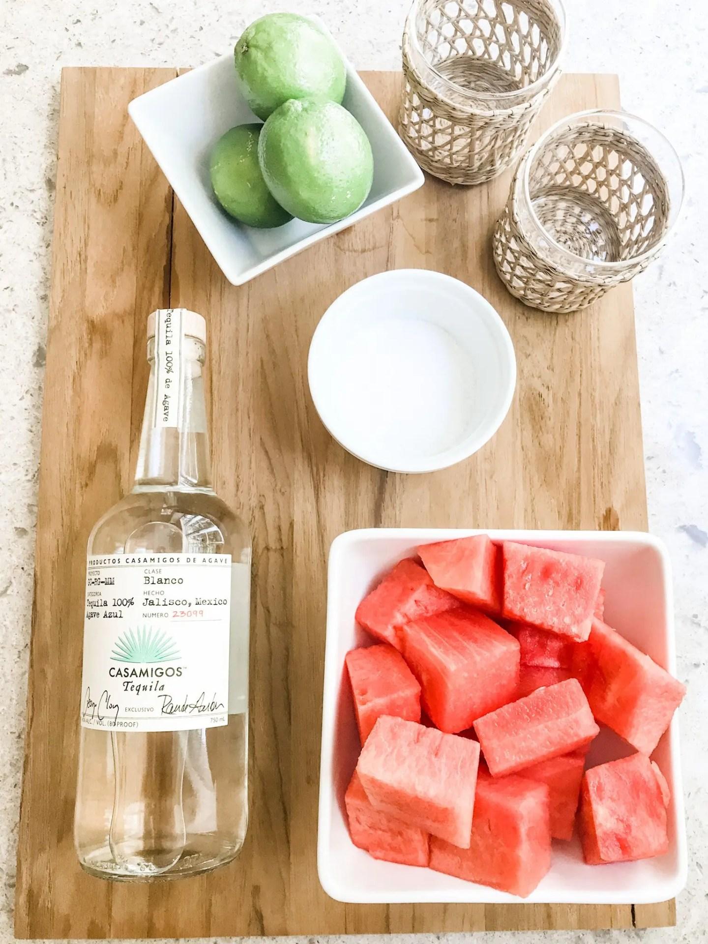 Just three simple ingredients in this skinny watermelon margarita!