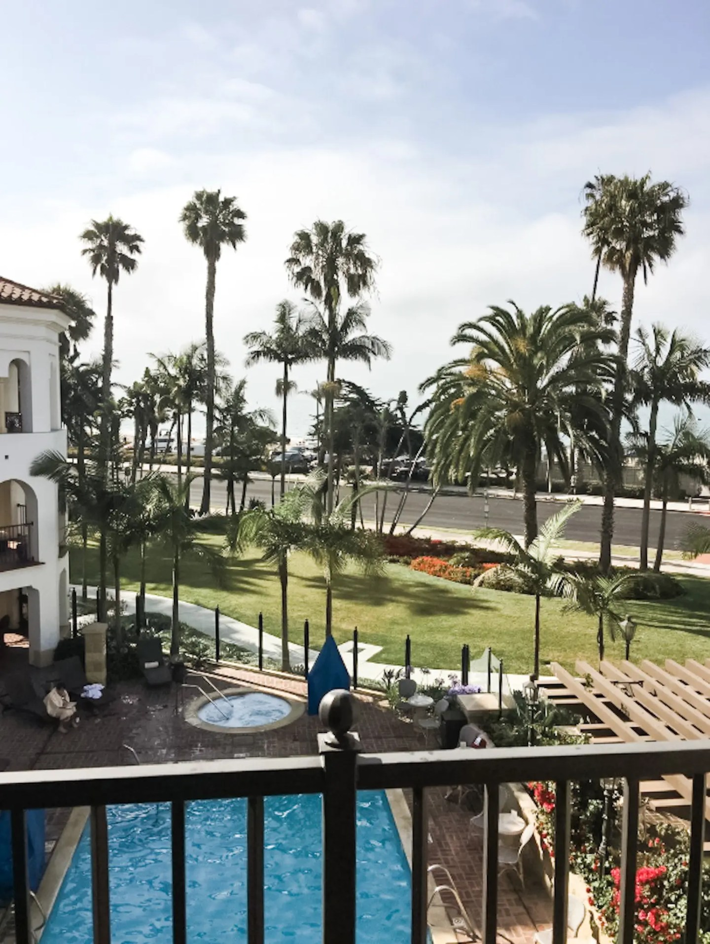 View from our room at the Santa Barbara Inn, nestled in between the beautiful palms