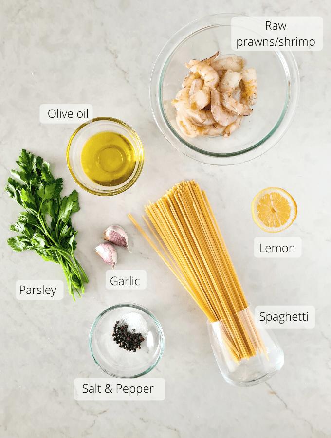 Ingredients for garlic prawn pasta