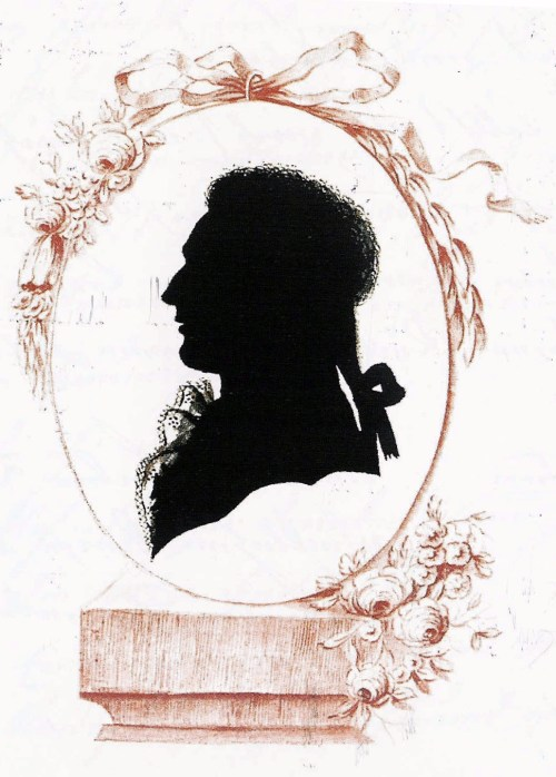 A traditional silhouette bust portrait.