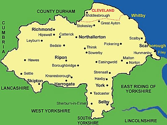 Map North Yorkshire North Yorkshire   Casual Ramblers