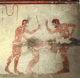 Fresco from the Tomb of the Whipping near modern-day Tarquinia, Italy showing two men and one woman in what would now be defined as a BDSM situation.
