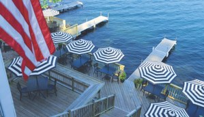 outdoor furniture and umbrellas