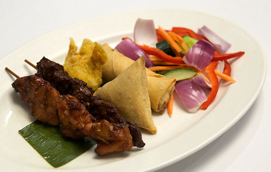 Satay, Samosa, and Spring Roll