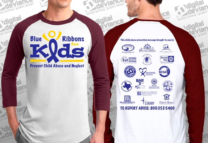 """Adult """"Blue Ribbons for Kids"""" 3qtr Tee"""