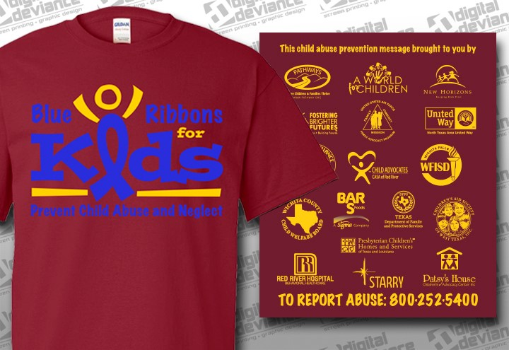 """Youth & Adult """"Blue Ribbons for Kids"""" T-shirt"""