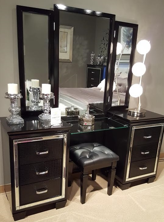 Allura Collection Vanity With Mirror Amp Stool Black Finish