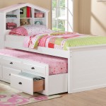White Kids Girls Bookcase Twin Bed Storage Trundle Drawers F9223 Casye Furniture