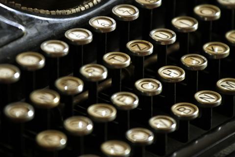 view of typewriter keys on a manual typewriter