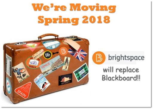 luggage with stickers and caption Brightspace is replacing Blackboard