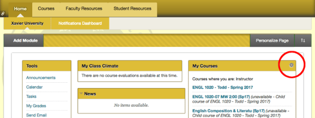 This is a screenshot of the homepage within Blackboard.