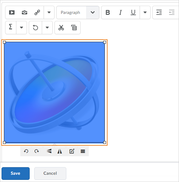 advanced image editing screen in the HTML Editor