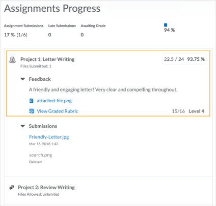 Rubric feedback for assignments progress