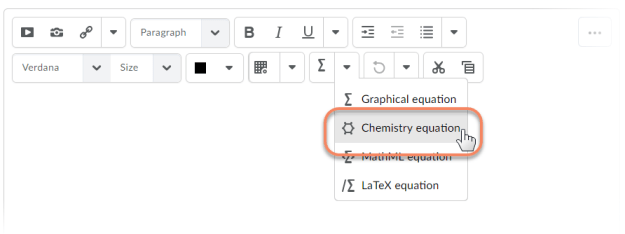 HTML Editor Chemistry Equation Writing Function