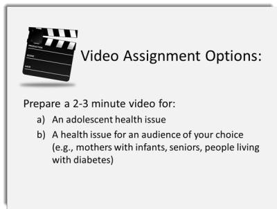 PowerPoint slide with a video assignment