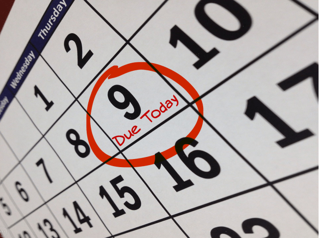 calendar with due today circled on Thursday the 9th