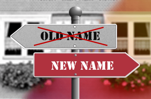 new name sign post
