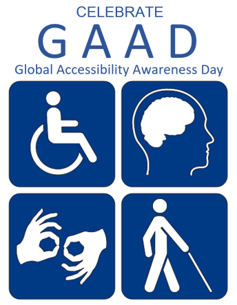 celebrate GAAD heading with disability icons
